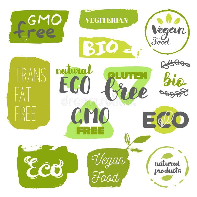 健康食物象,标签 有机标签 自然产品元素 素食餐馆菜单的商标 光栅例证 低 库存照片