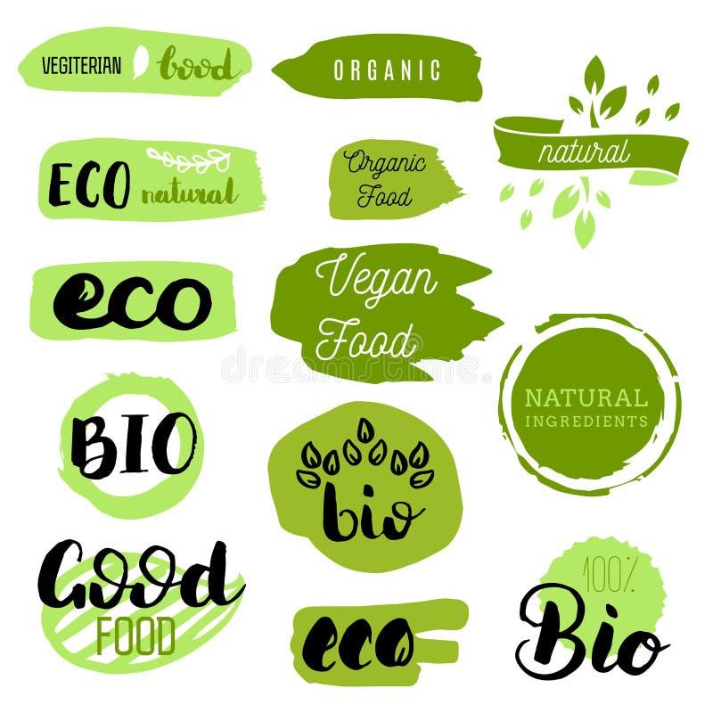 健康食物象,标签 有机标签 自然产品元素 素食餐馆菜单的商标 光栅例证 低 库存图片