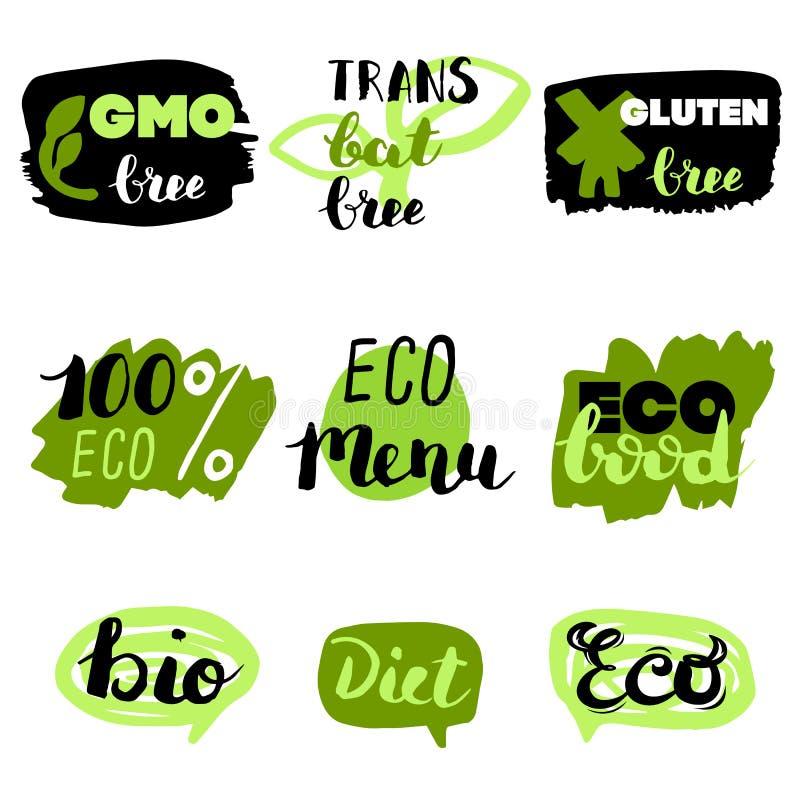健康食物象,标签 有机标签 自然产品元素 素食餐馆菜单的商标 光栅例证 低 免版税图库摄影