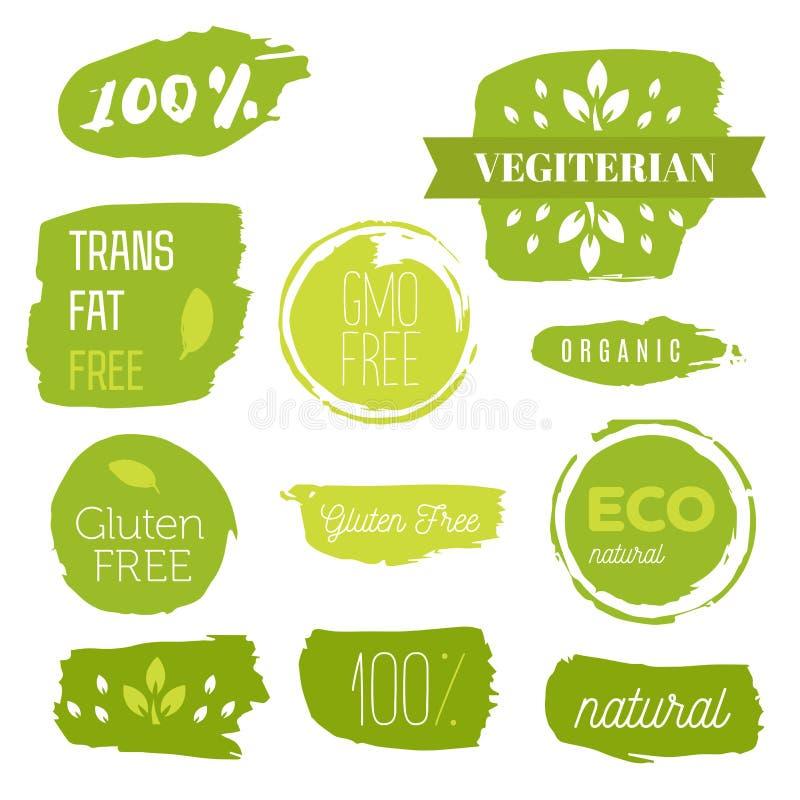 健康食物象,标签 有机标签 自然产品元素 素食餐馆菜单的商标 光栅例证 低 免版税库存照片