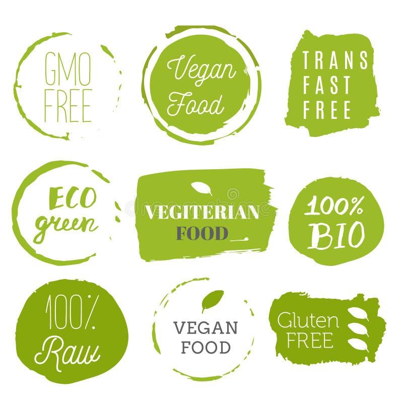 健康食物象,标签 有机标签 自然产品elemen 免版税库存图片
