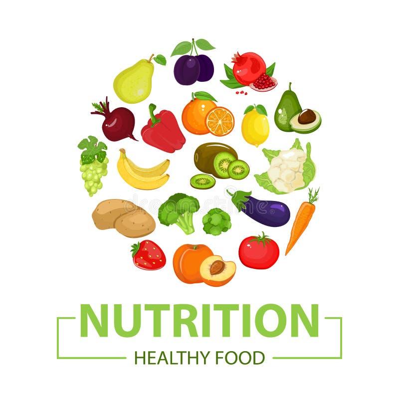 健康食物象 果子在动画片样式被画 查出的空白背景 向量例证
