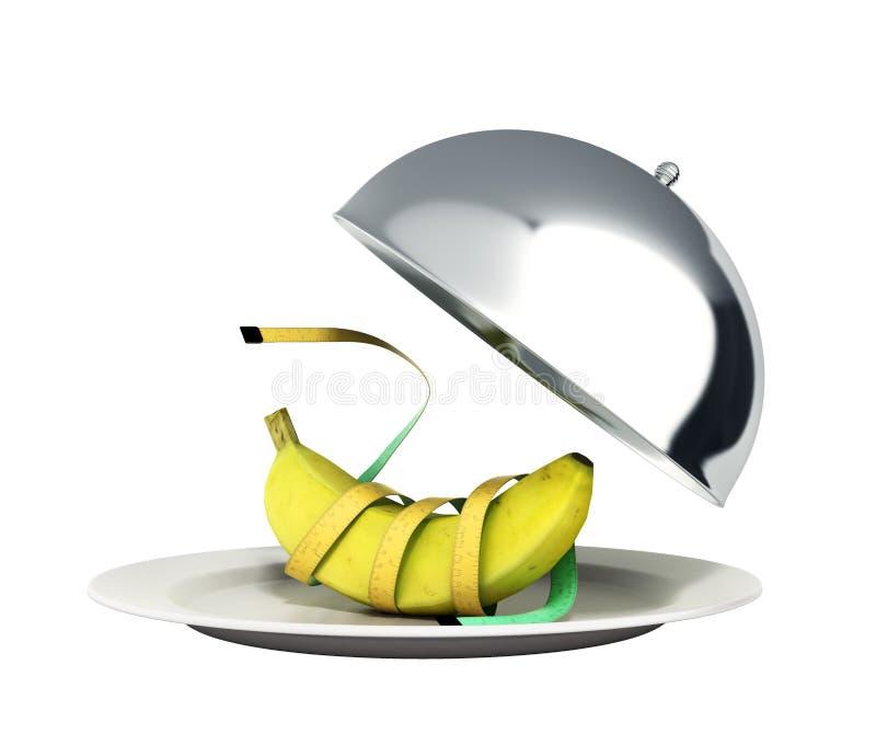 健康食物餐馆钓钟形女帽的概念与开放盒盖3d r 皇族释放例证