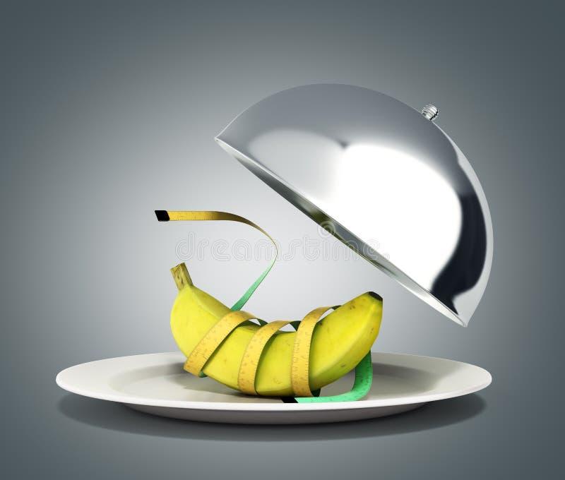 健康食物餐馆钓钟形女帽的概念与开放盒盖3d r 向量例证