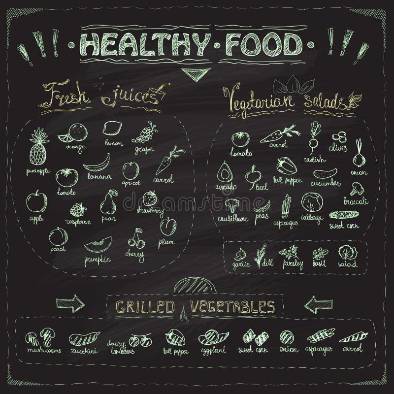 健康食物黑板菜单用手拉的被分类的水果和蔬菜 向量例证