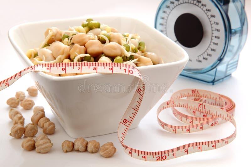健康饮食,发芽的豆 免版税库存照片