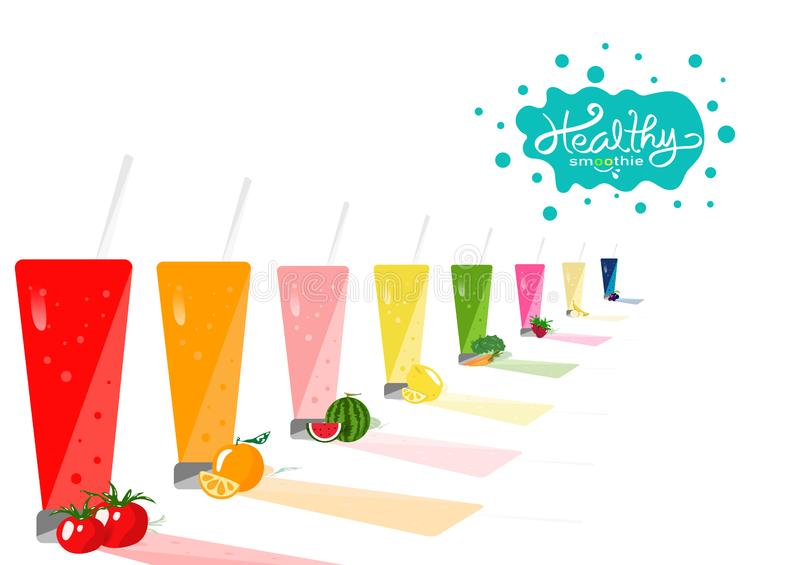 健康,饮用的产品汇集平衡饮食菜单,新饮用的产品、菜和果子水多的概念在白色空间 皇族释放例证