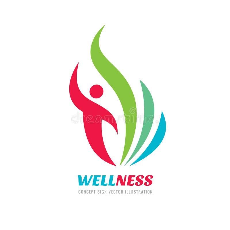健康-传染媒介企业商标概念例证 与绿色的抽象人的字符剪影离开创造性的标志 皇族释放例证