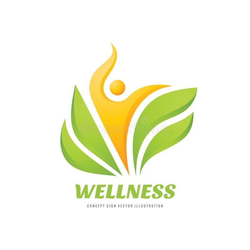 健康-传染媒介企业商标模板概念例证 抽象人的字符和绿色叶子 医疗保健创造性的标志 向量例证