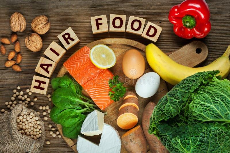 健康头发的食物 免版税库存照片