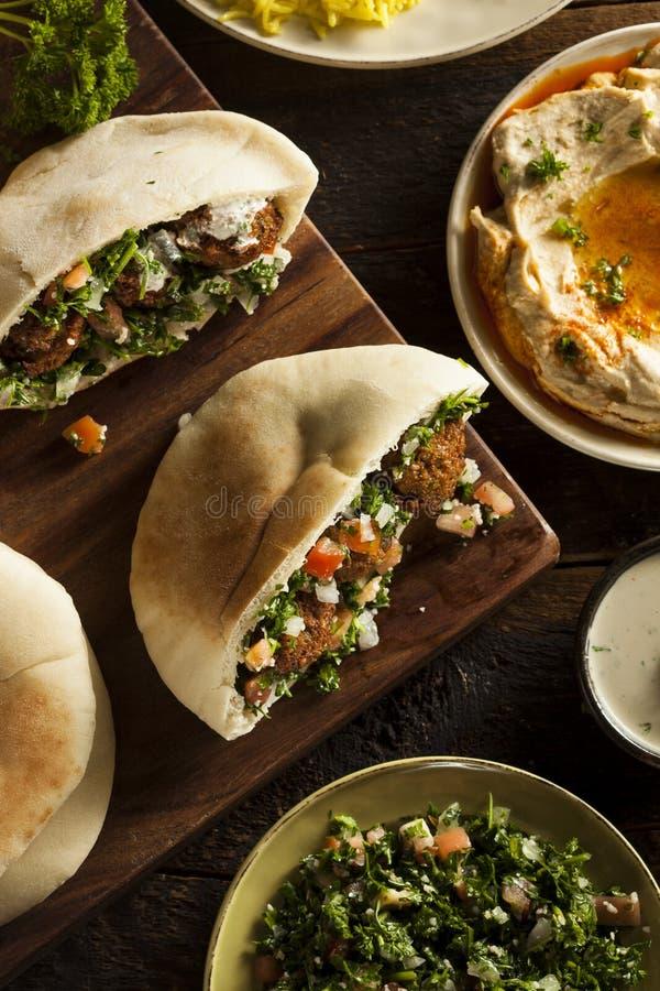健康素食沙拉三明治皮塔饼 免版税库存图片