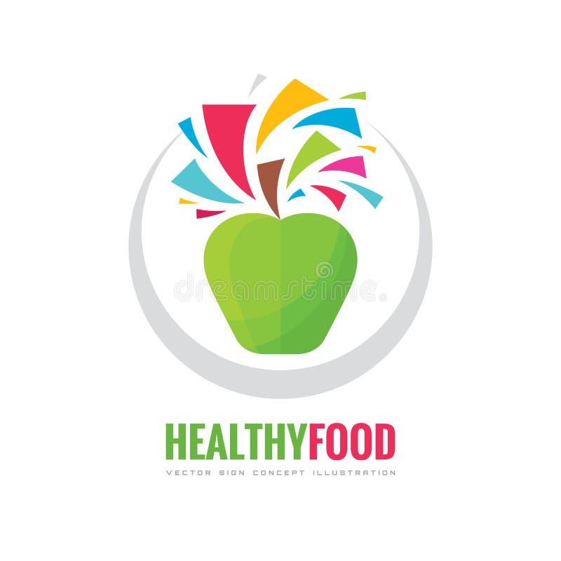健康素食食物-企业商标模板概念例证 新鲜的汁液创造性的标志 绿色苹果标志 皇族释放例证
