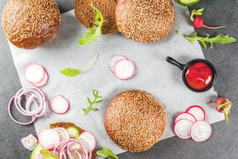 健康素食主义者汉堡 图库摄影