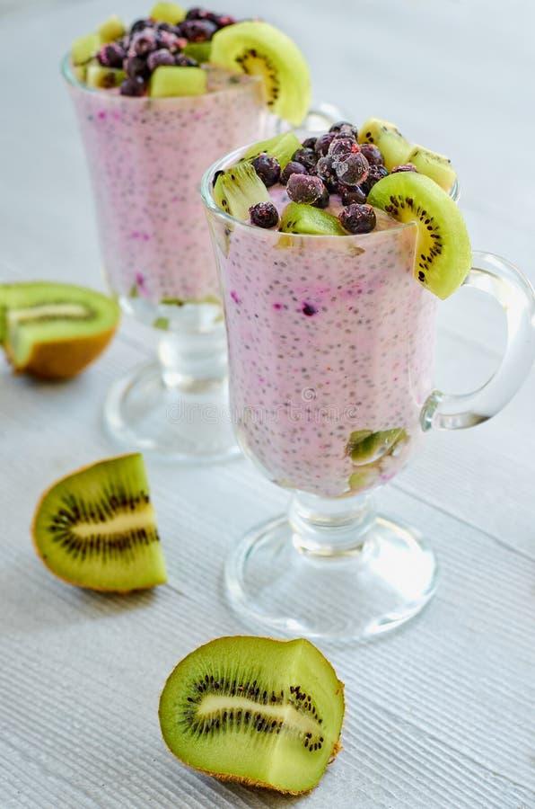 健康chia在两块玻璃中播种布丁用酸奶、新鲜的切的猕猴桃和冷冻蓝莓 戒毒所superfoods早餐 免版税图库摄影