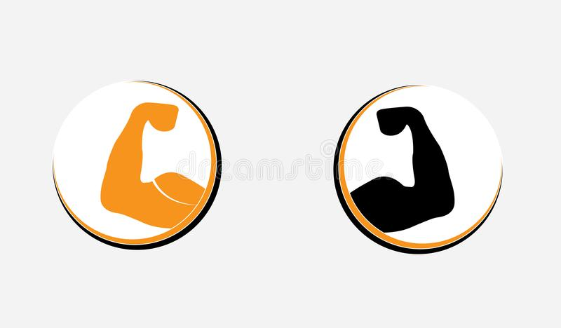 健美健身房锻炼商标模板-肌肉手强有力的胳膊 向量例证