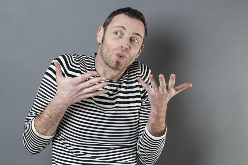 健谈40s人的肢体语言概念 库存照片