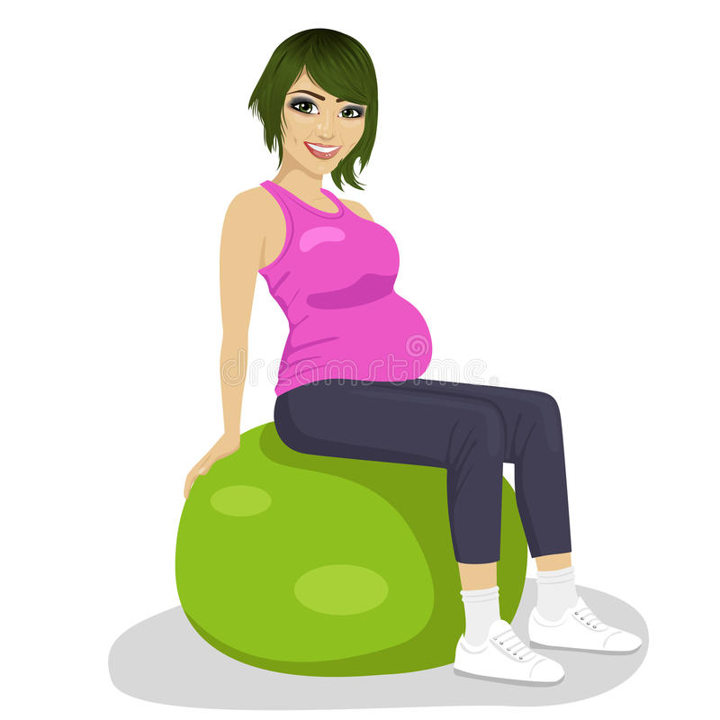 健身、体育和生活方式概念-锻炼球的孕妇 库存例证
