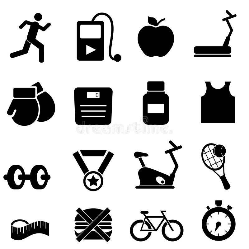 健身、健康和饮食图标 免版税图库摄影
