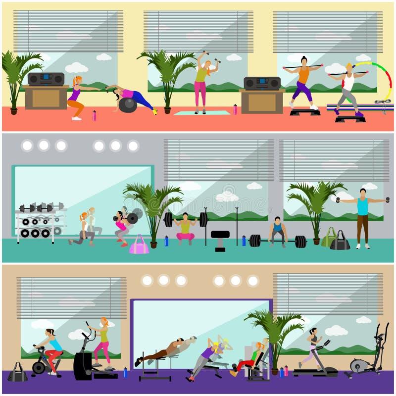 健身中心内部传染媒介例证 人们在健身房水平的横幅解决 体育活动概念 库存例证