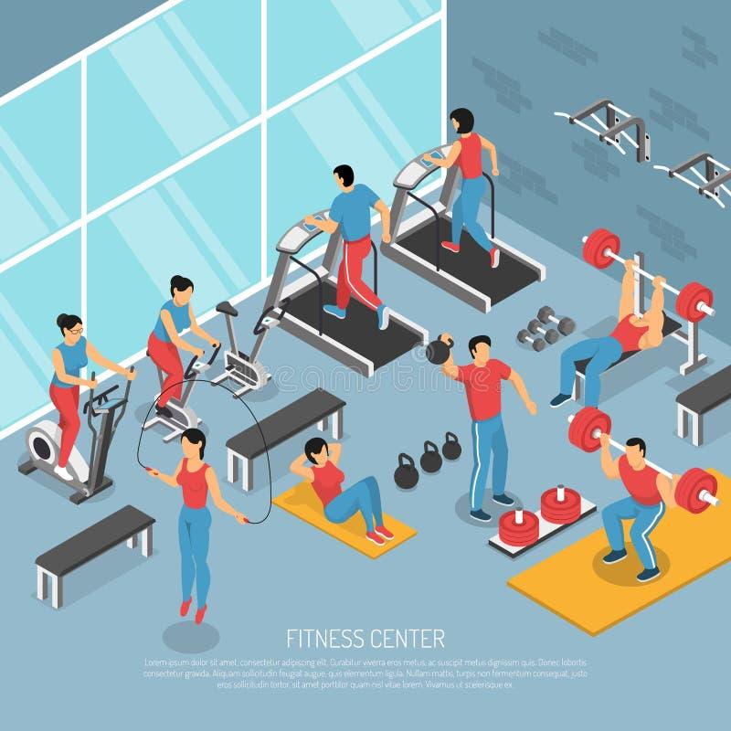 健身中心内部等量海报 库存例证