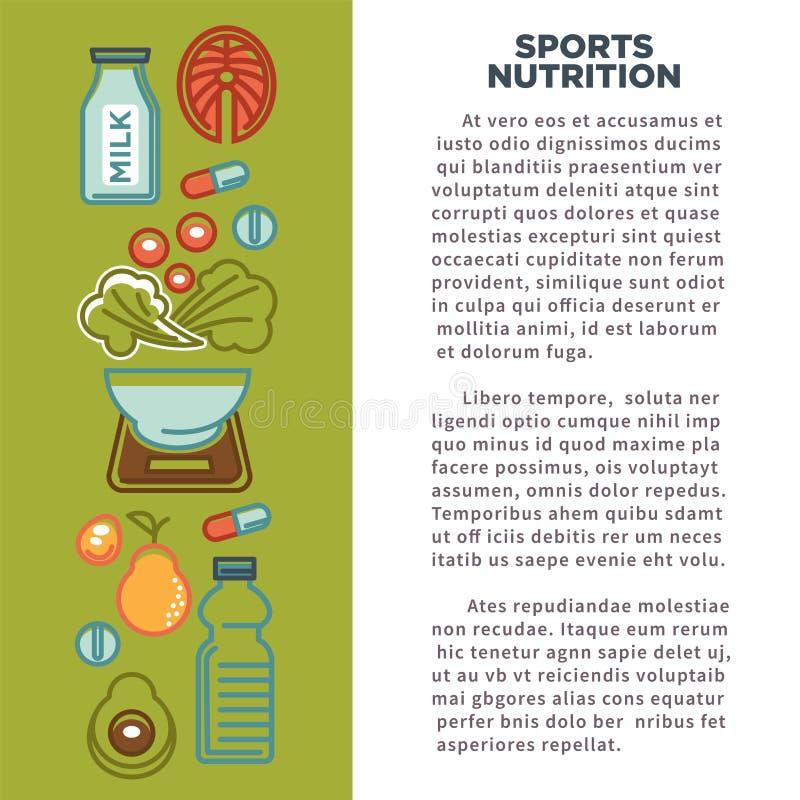 健身体育健康饮食食物营养象食物海报  皇族释放例证