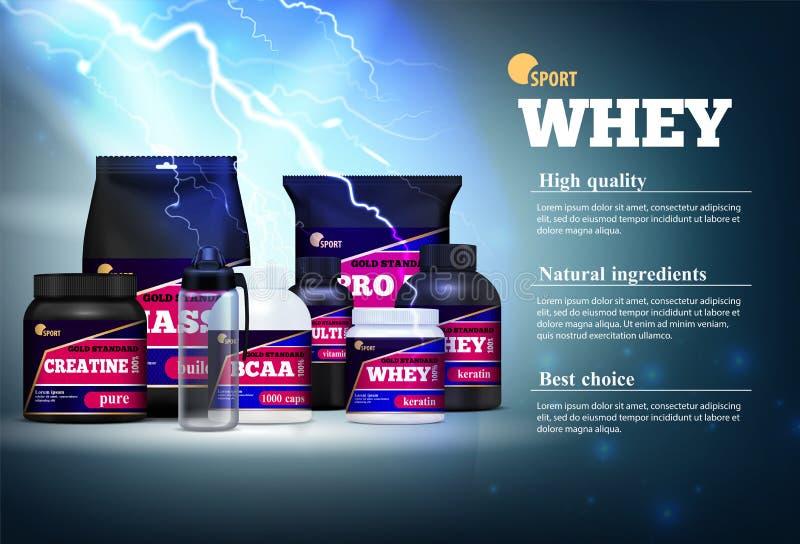 健身体育蛋白质广告 皇族释放例证