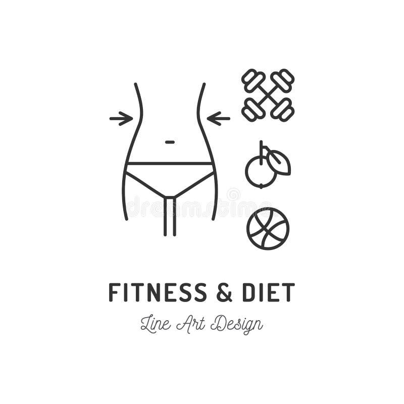 健身俱乐部商标,饮食象,健康生活方式 亭亭玉立的身体,整洁的妇女形象,杠铃,苹果,球 稀薄的线艺术 向量例证