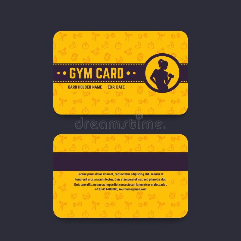 健身俱乐部,健身房卡片传染媒介模板 皇族释放例证