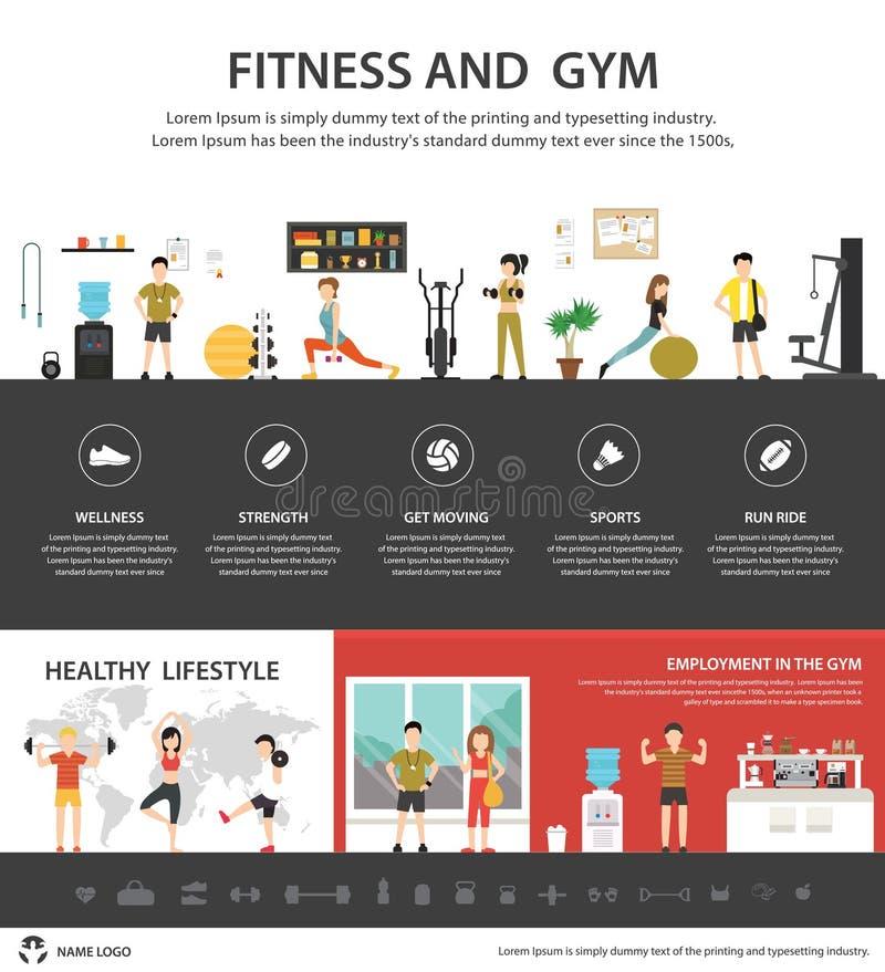 健身俱乐部infographic平的传染媒介例证 3d背景概念例证查出的介绍回报了白色 向量例证