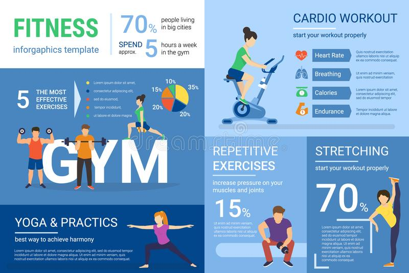健身做与图表和图的人的infographics例证锻炼 库存例证