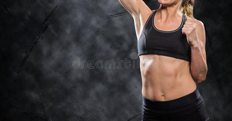 健身做锻炼的妇女躯干反对黑背景 皇族释放例证