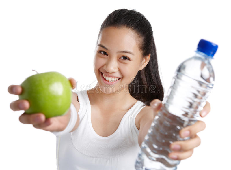 健身健康食物的女孩 库存照片