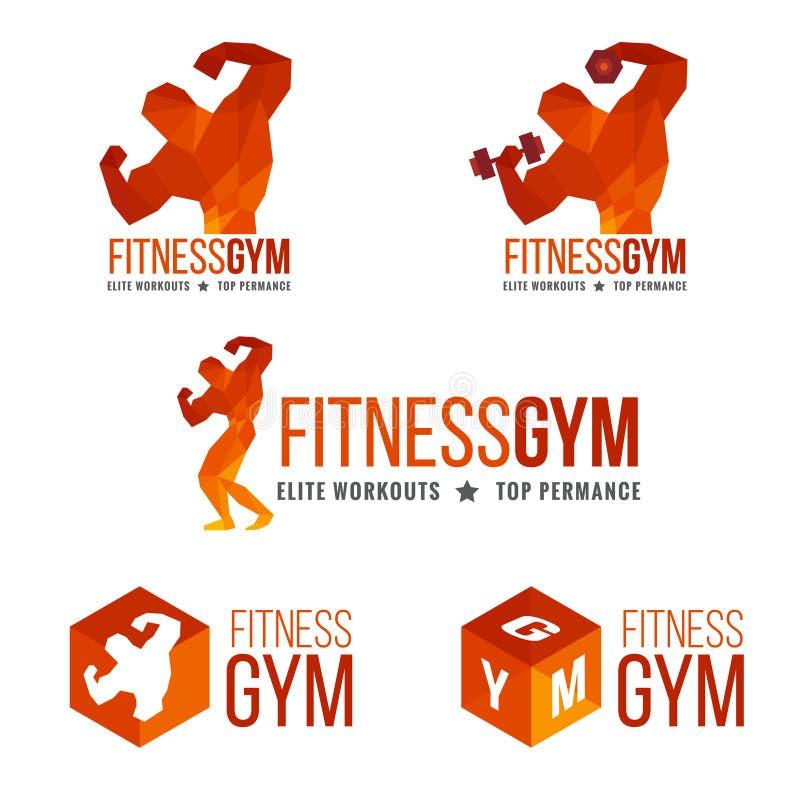 健身健身房商标(人的肌肉强度和举重) 皇族释放例证