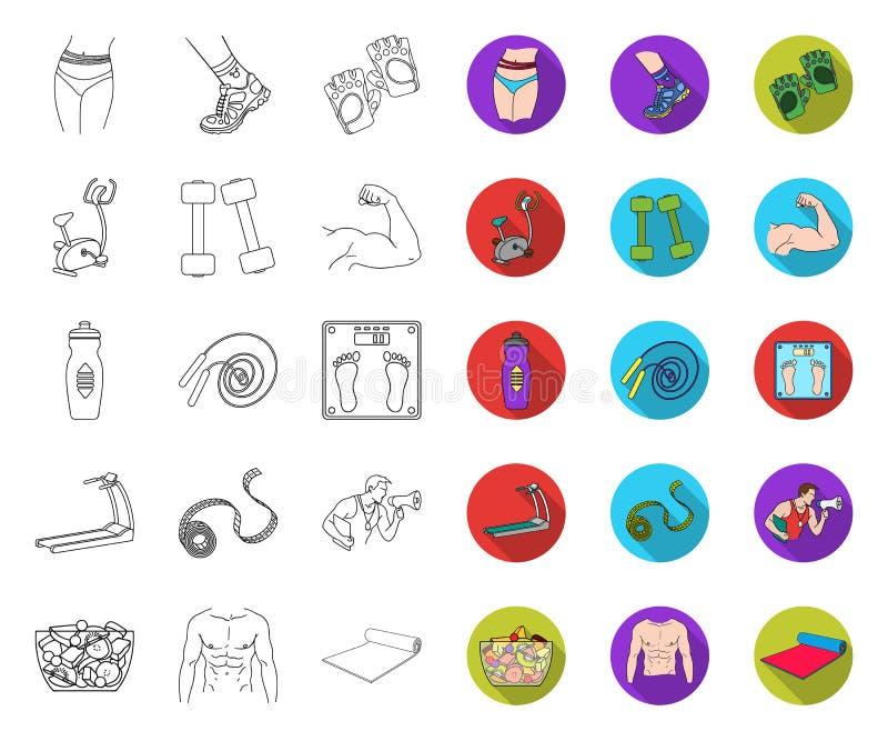 健身和属性概述,在集合收藏的平的象的设计 健身设备传染媒介标志股票网 库存例证