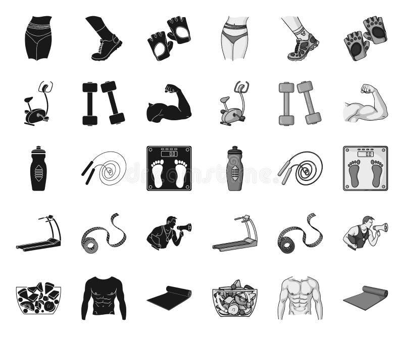 健身和属性黑色 在集合收藏的单音象的设计 健身设备传染媒介标志股票网 库存例证