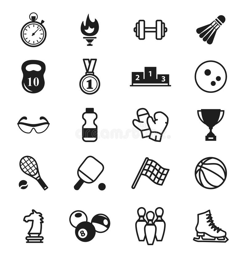 健身图标七个剪影体育运动 项目,存货 向量例证
