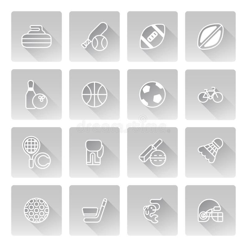健身图标七个剪影体育运动 库存例证