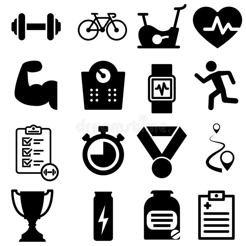 健身图标集 sport illustration sign collection workout symbol or logo 向量例证