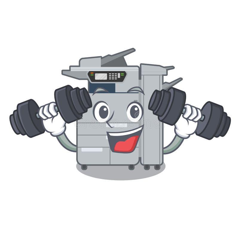 健身在动画片形状的影印机机器 向量例证