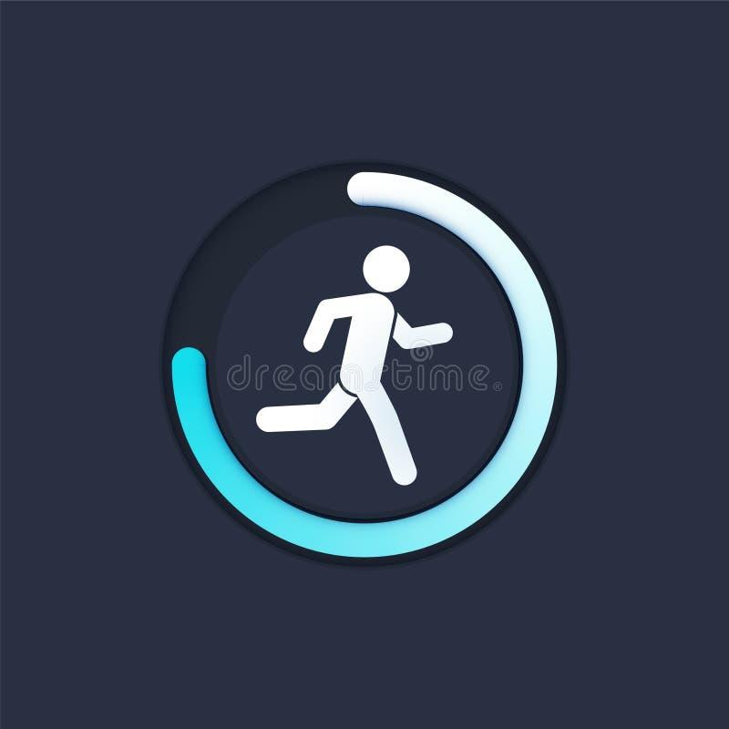 健身在手机屏幕传染媒介例证平的动画片样式,有跑的跟踪仪的智能手机的跟踪的app,跑 向量例证