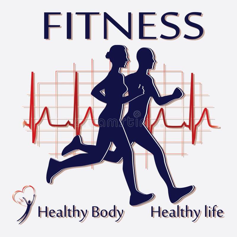 健身夫妇图标 向量例证
