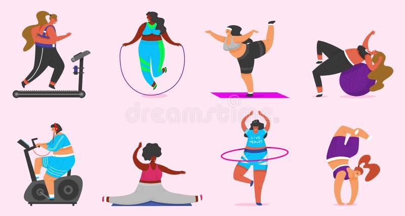 健身女孩加上大小 在俱乐部的健康体育 做锻炼的设置肥胖妇女,丢失重量,跑在模拟器 库存例证