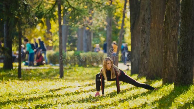 健身妇女做锻炼的力量训练在晴朗的秋天公园 行使她的身体的适合的白种人运动的女孩 库存照片