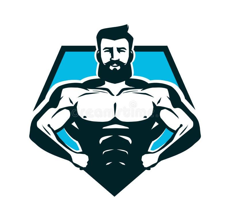 健身房、建身的商标或者标签 有大肌肉的大力士 也corel凹道例证向量 皇族释放例证