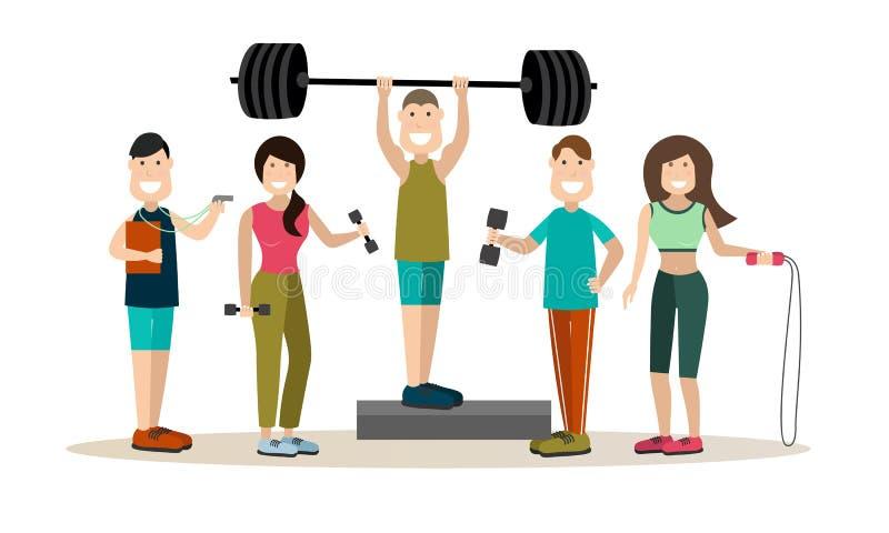 健身房人传染媒介平的象集合 库存例证