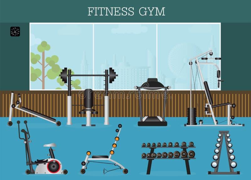 健身房内部用健身房设备 向量例证