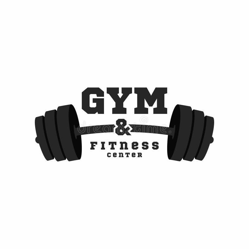 健身房商标 健身中心商标设计模板 在白色背景隔绝的黑杠铃 库存例证