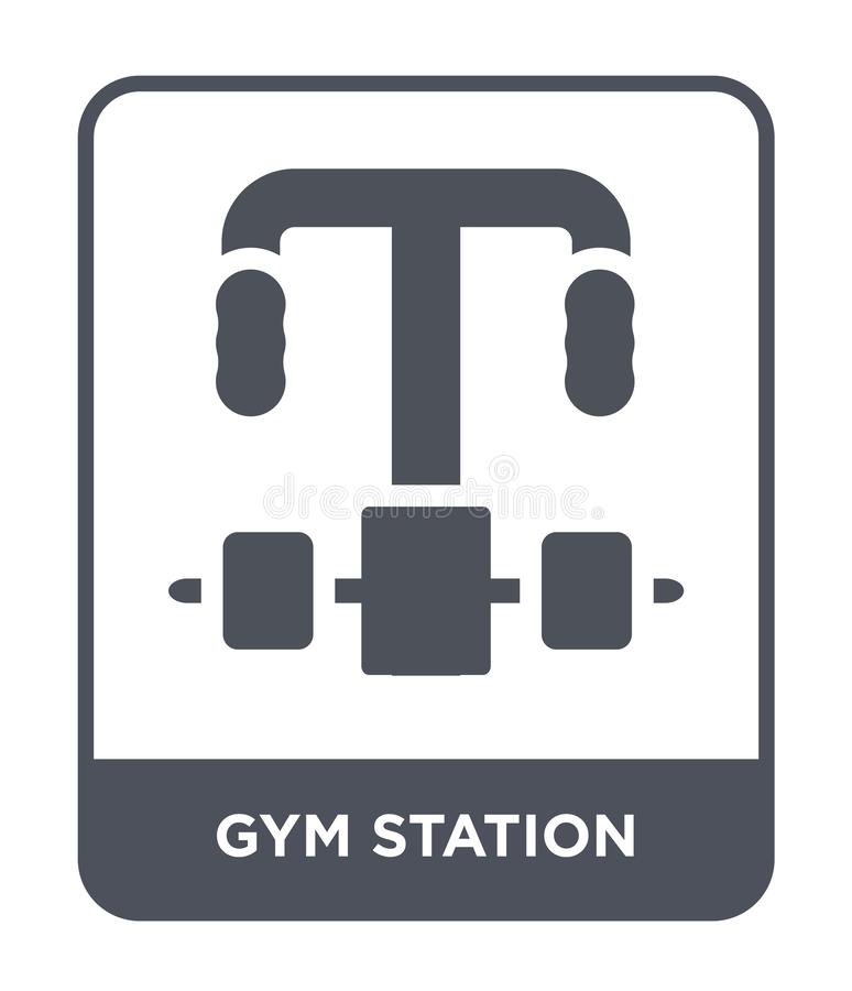 健身房在时髦设计样式的驻地象 健身房在白色背景隔绝的驻地象 健身房驻地现代传染媒介的象简单和 库存例证