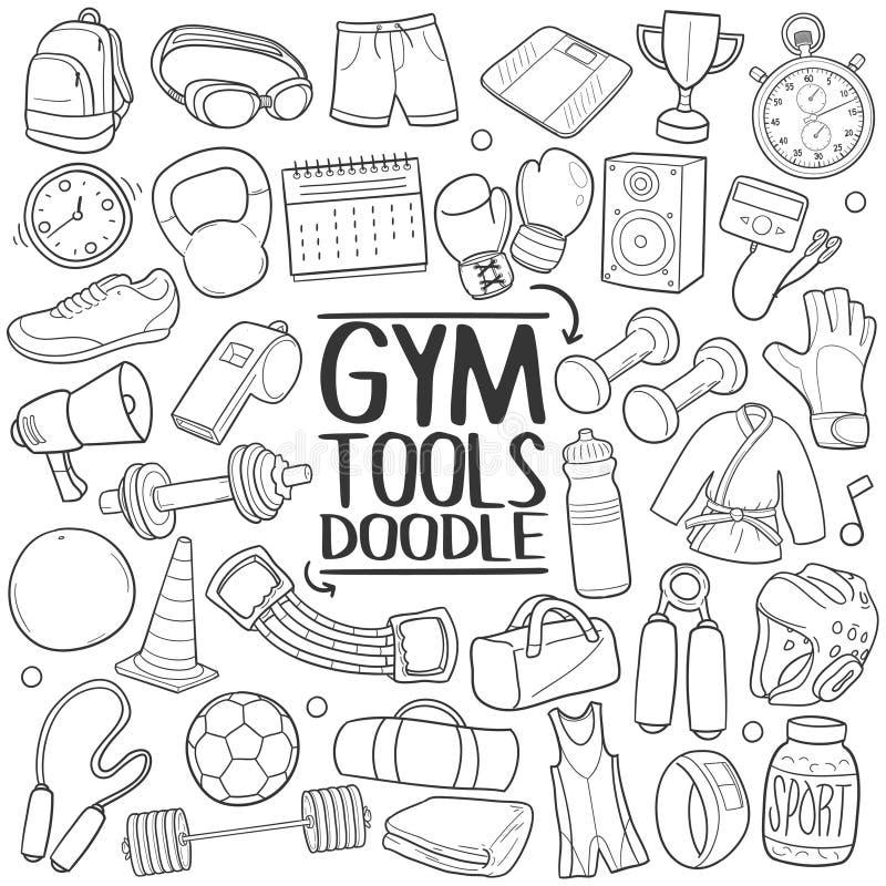 健身房工具健身传统乱画象手凹道集合 皇族释放例证