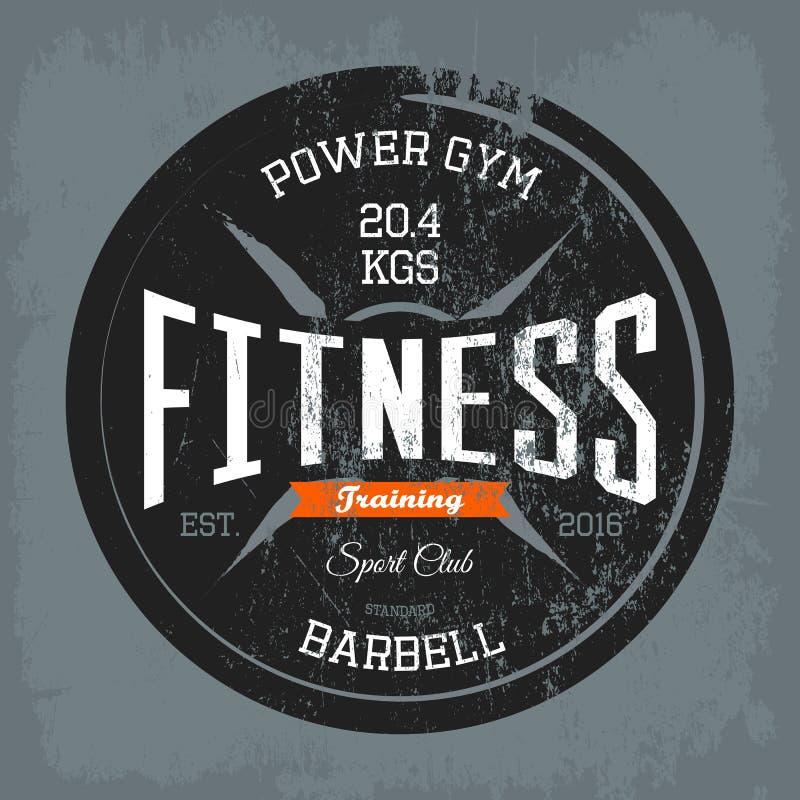 健身房或健身房,健身在衬衣的训练印刷品 向量例证